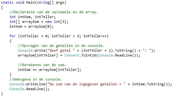 Oplossing oefeningen arrays C# 7-1