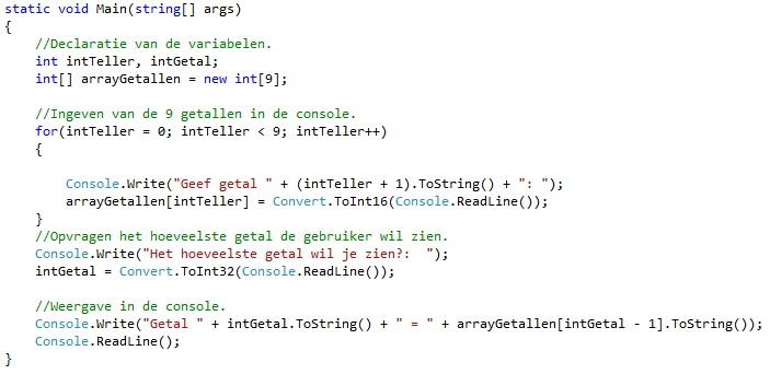 Oplossing oefeningen arrays C# 7-2