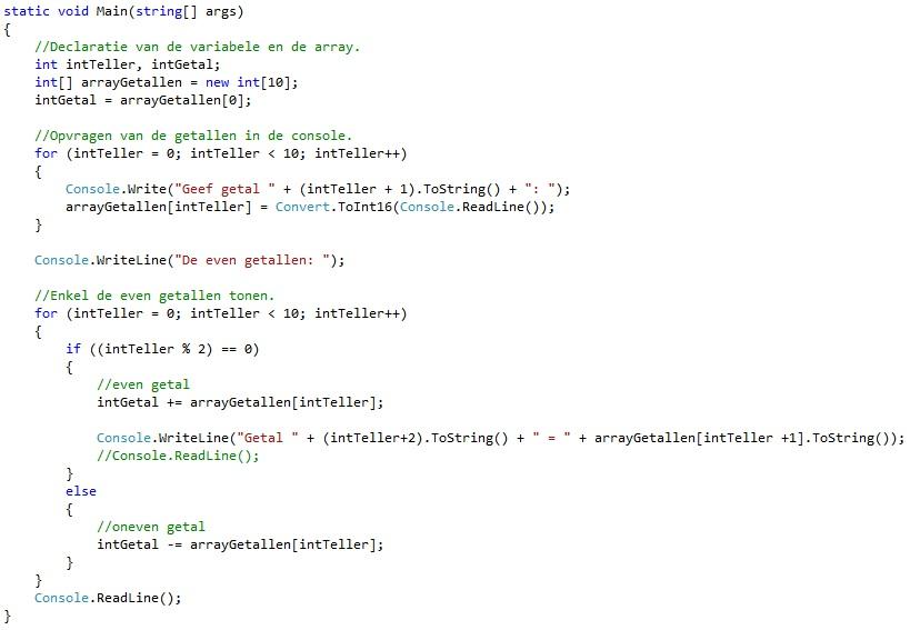 Oplossing oefeningen arrays C# 7-3