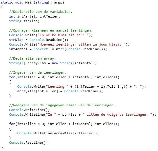 Oplossing oefeningen arrays C# 7-5