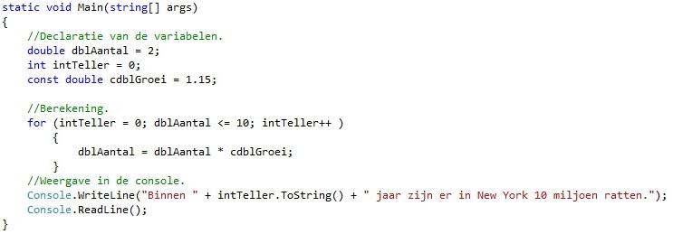Oplossing oefeningen iteratie C# 5-1