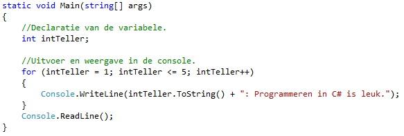 Oplossing oefeningen iteratie C# 5-2