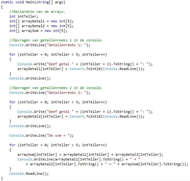 Oplossing oefeningen arrays C# 7-4