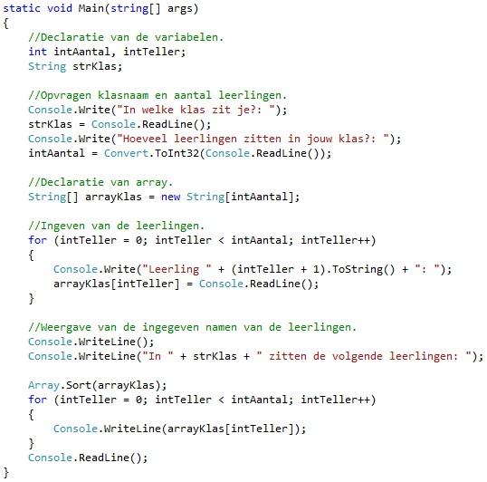 Oplossing oefeningen arrays C# 7-6