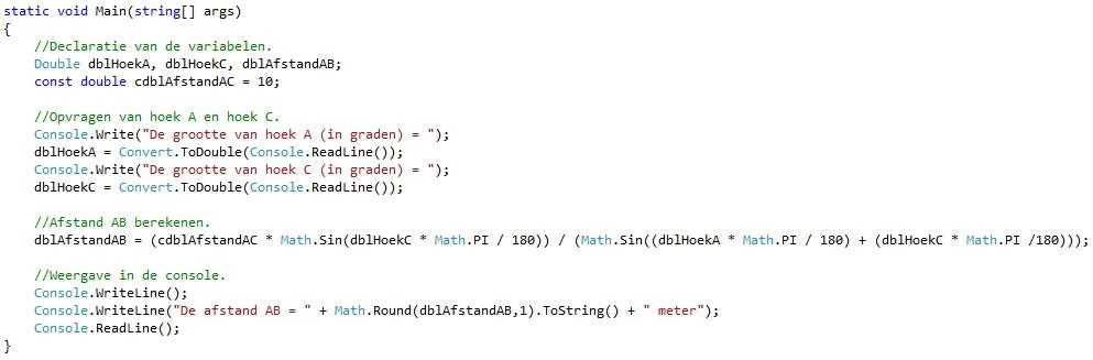 Oplossing oefeningen functies C# 3-1