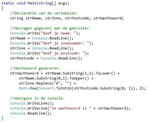Oplossing oefeningen functies C# 3-4