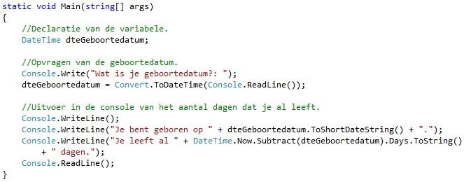 Oplossing oefeningen functies C# 3-9