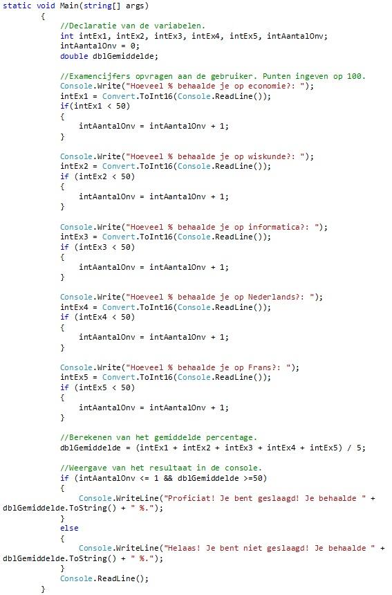 Oplossing oefeningen selectie C# 4-4