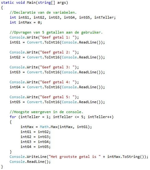 Oplossing oefeningen iteratie C# 5-5