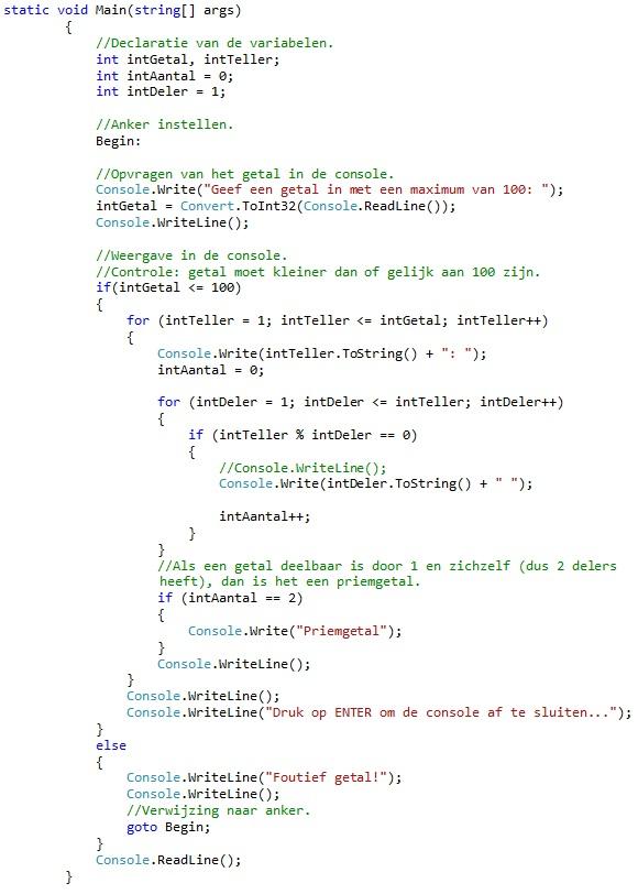 Oplossing oefeningen iteratie C# 5-11