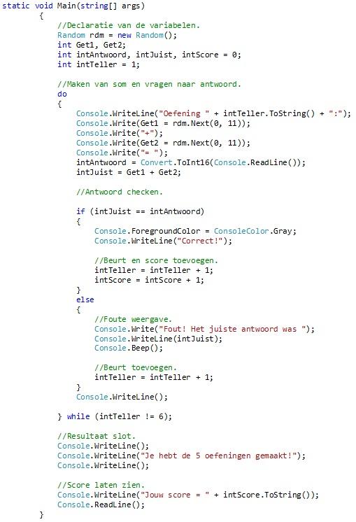 Oplossing oefeningen iteratie C# 5-9