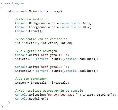 Figuur 2.1: Broncode probleemstelling Som