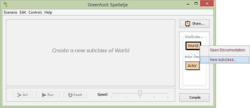 Figuur 12.2: Nieuw subklasse van klasse World in Greenfoot