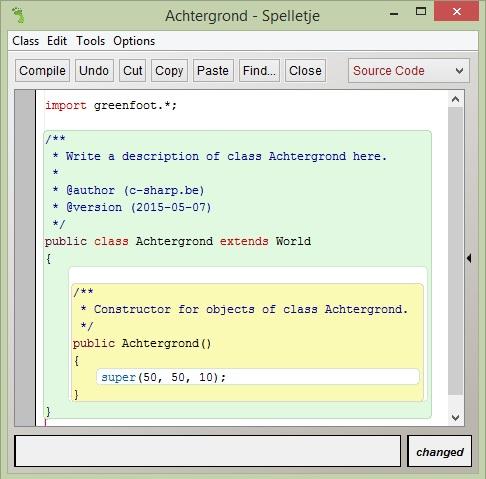 Figuur 12.4: Code van de subklasse Achtergrond