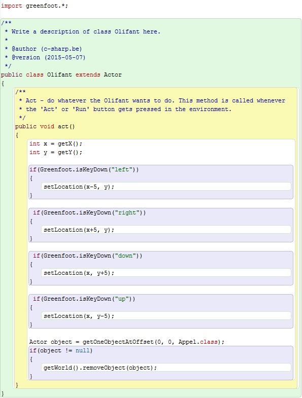 Figuur 12.6: Code methode act van klasse Olifant