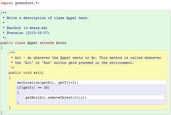 Figuur 12.7: Code klasse Appel