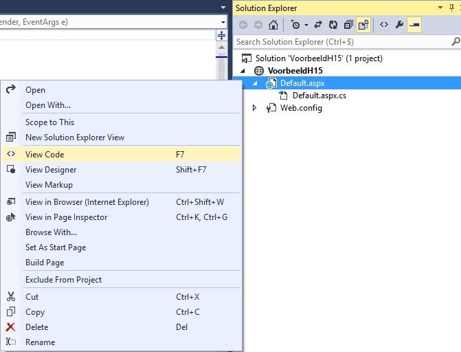 Figuur 15.6 Visual Studio: Paginaweergave
