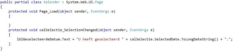 Oplossing oefeningen webcontrols 15-4: Code