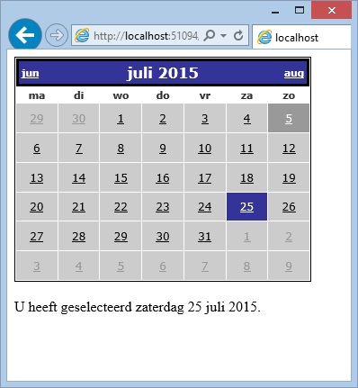 Oplossing oefeningen webcontrols 15-4: Resultaat in browser