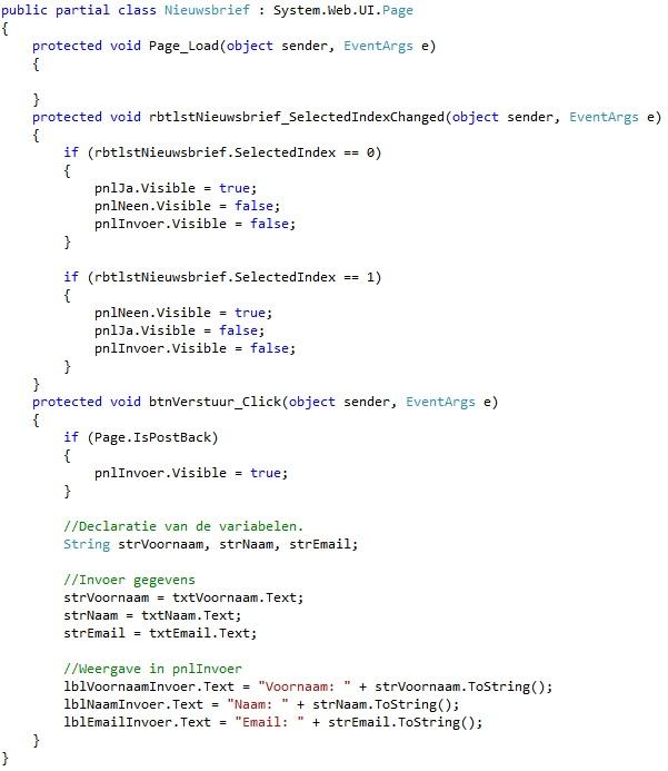 Oplossing oefeningen webcontrols 15-5: Code