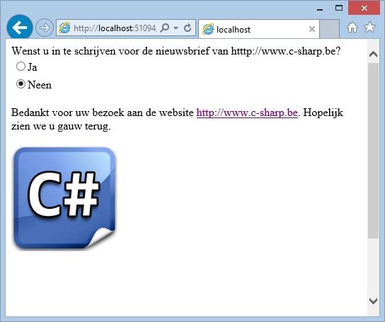 """Oplossing oefeningen webcontrols 15-5: Resultaat in browser """"Neen"""""""