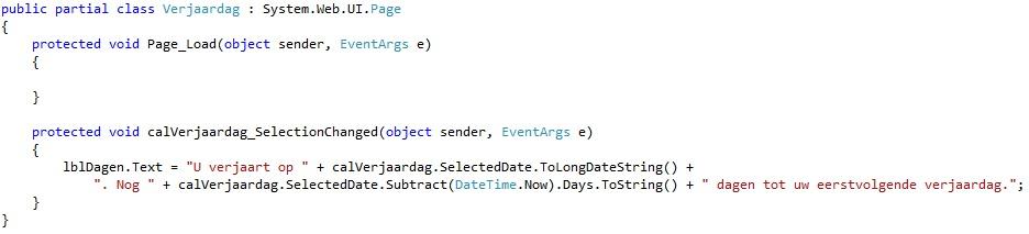 Oplossing oefeningen webcontrols 15-6: Code