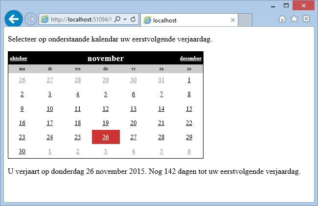 Oplossing oefeningen webcontrols 15-6: Resultaat in browser