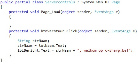 Oplossing oefeningen webcontrols 15-2: Code
