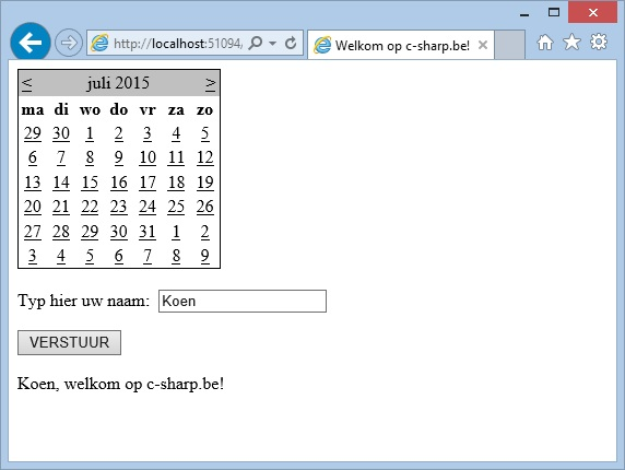 Oplossing oefeningen webcontrols 15-2: Resultaat in browser