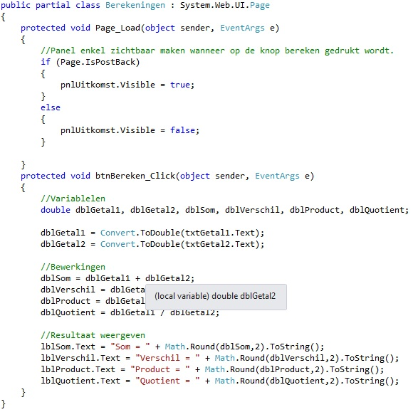 Oplossing oefening webcontrols 15-3: Code
