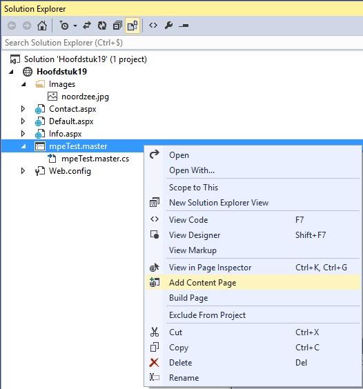 Figuur 19.12 masterpage: Webpagina aanmaken met opmaak masterpage