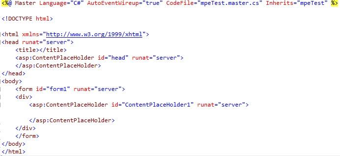 Figuur 19.3 masterpage: Code van de masterpage