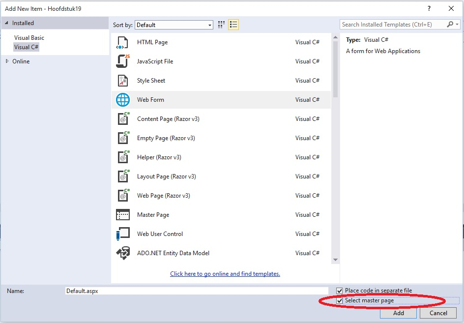 Figuur 19.8 masterpage: Webpagina aanmaken op basis van masterpage