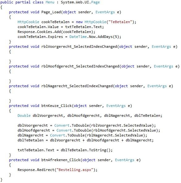 Oplossing oefeningen cookies 18-2: Code menu
