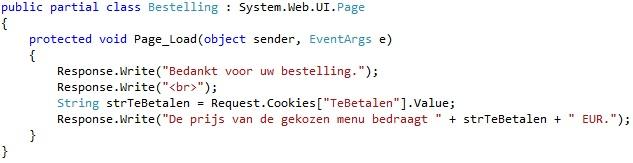 Oplossing oefeningen cookies 18-2: Code bestelling