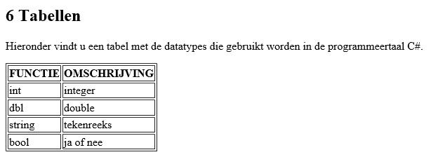 Figuur 5: HTML tabel