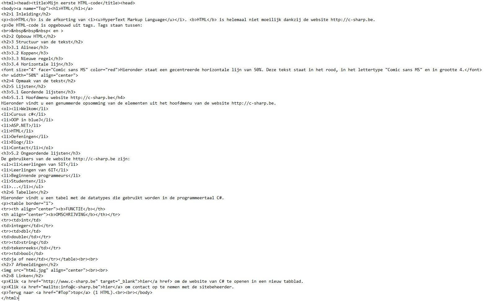 Oplossing oefeningen HTML
