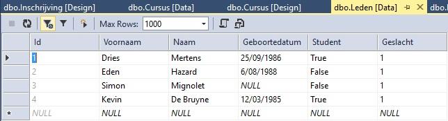 Figuur 20.13 database: Tabel Leden