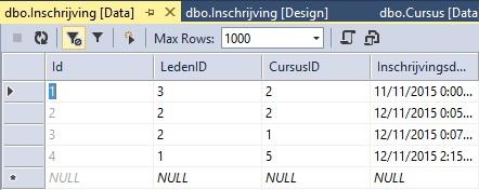 Figuur 20.15 database: Tabel Inschrijving