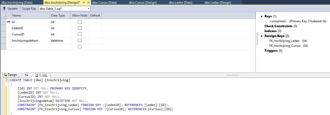 Figuur 20.17 database: Relaties leggen tussen tabellen