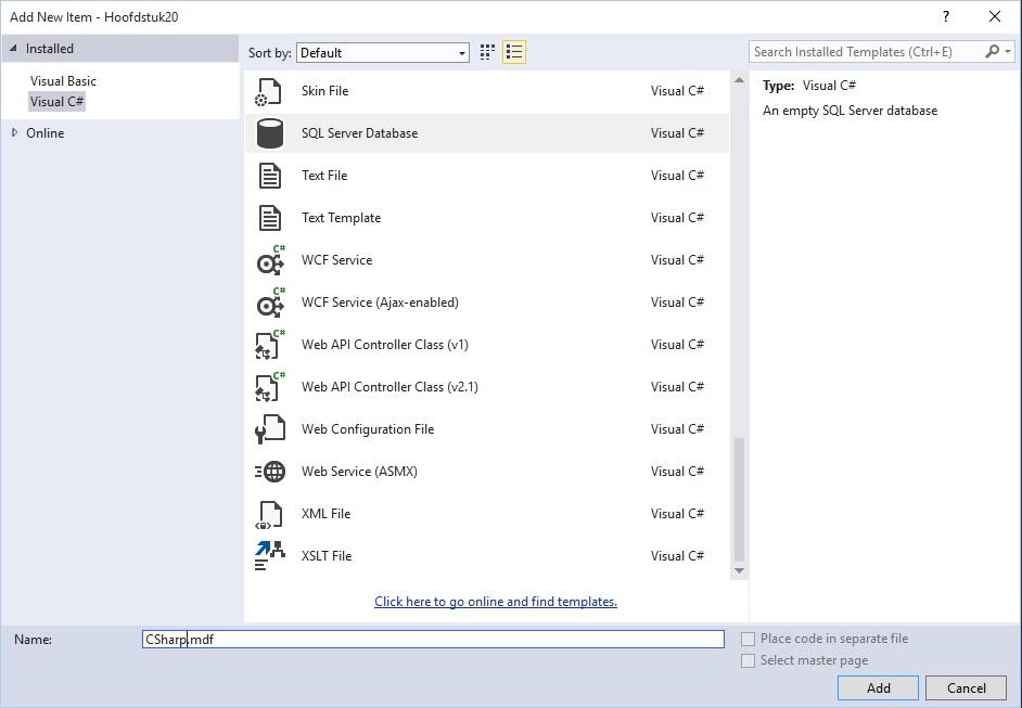 Figuur 20.2 database: Aanmaken SQL Server Database