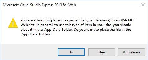 Figuur 20.3 database: Nieuwe database in de map App_Data plaatsena