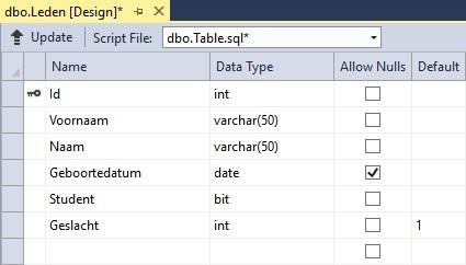 Figuur 20.10 database: SQL Server-tabel aanmaken