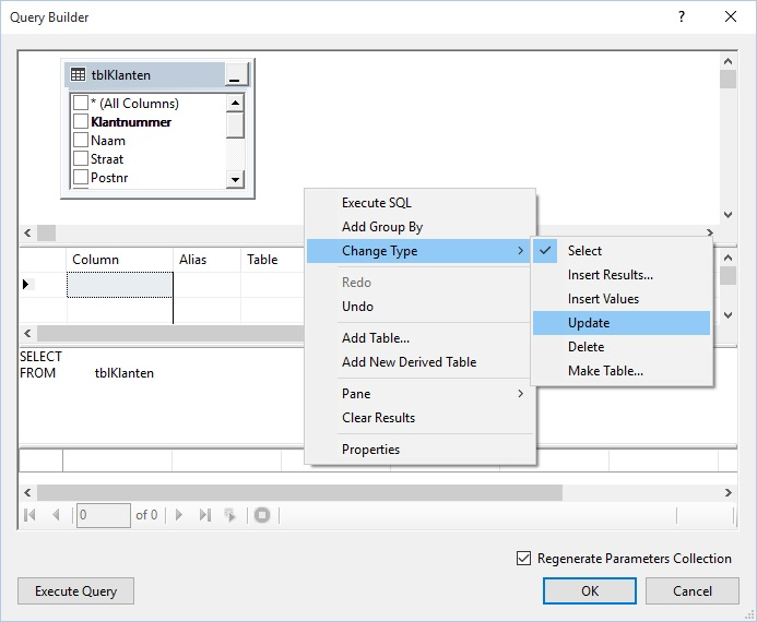 Figuur 22.12 Connected toegang: Query Builder