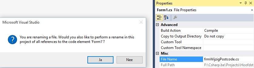 Figuur 22.2 Connected toegang: Formuliernaam wijzigen
