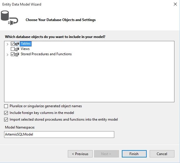 Figuur 22.8 Connected toegang: Onderdelen van de database toevoegen