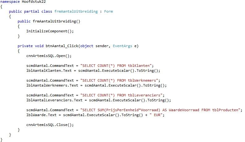 Oplossing oefening 22.5: Code