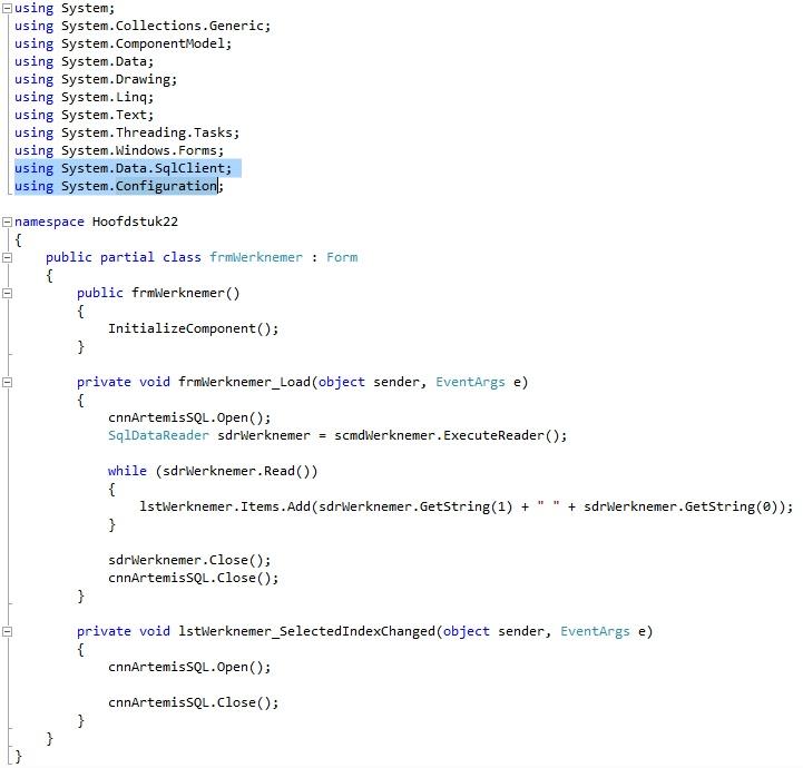 Oplossing oefening 22.6: Code
