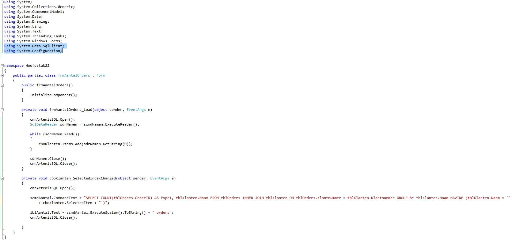 Oplossing oefening 22.7: Code