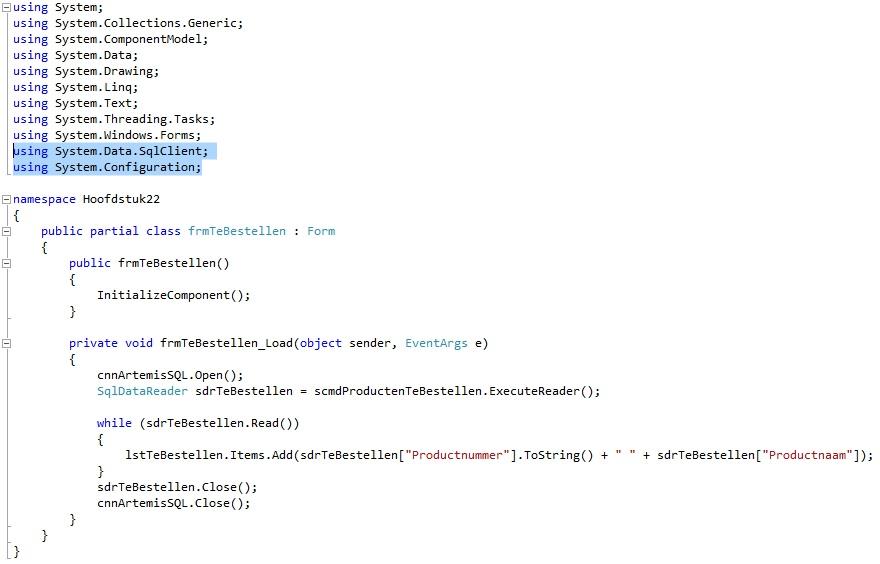 Oplossing oef 22-9: Code